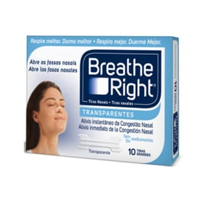 Breathe Right tiras nasales transparentes 10uds