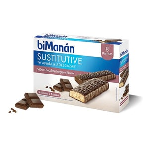biManán Sustitutive sabor chocolate negro y blanco 8 barritas