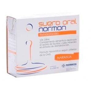 Normon suero oral rehidratación naranja 2x250ml