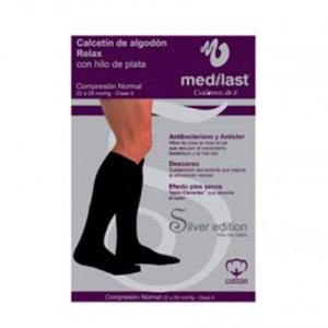 Medilast calcetín Silver Edition compresión normal con algodón negro T-M