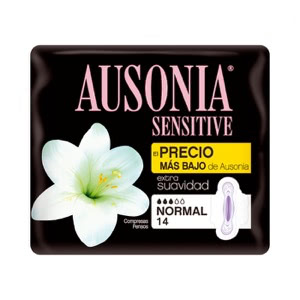Ausonia Sensitive compresas tamaño normal con alas 14uds